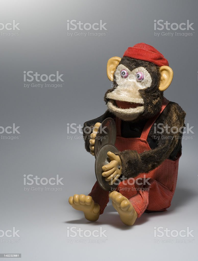 toy monkey with cymbals stock photo