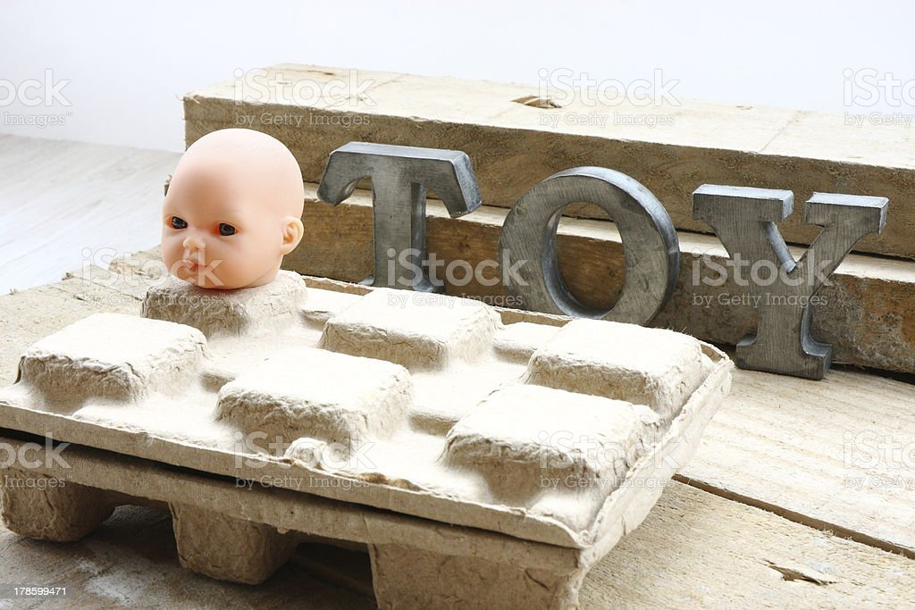 Toy over carton royalty-free stock photo