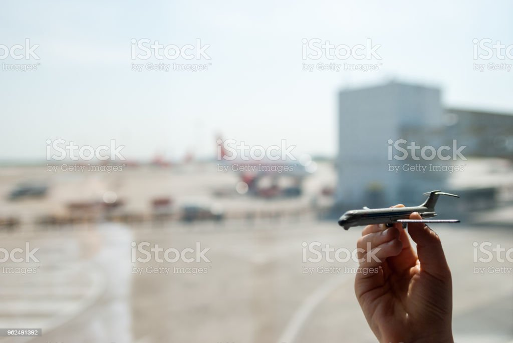Milan, Italy - April 23, 2018: toy plane held - Royalty-free Air Vehicle Stock Photo