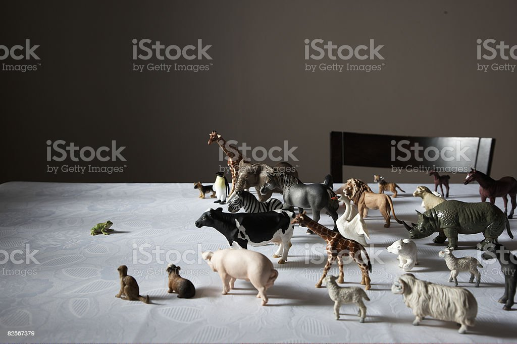 toy plastic animals, fog at front royalty-free stock photo