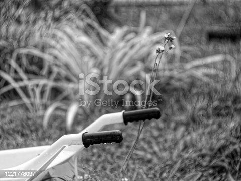 istock toy plastic wheelbarrow in the garden in summer 1221778097