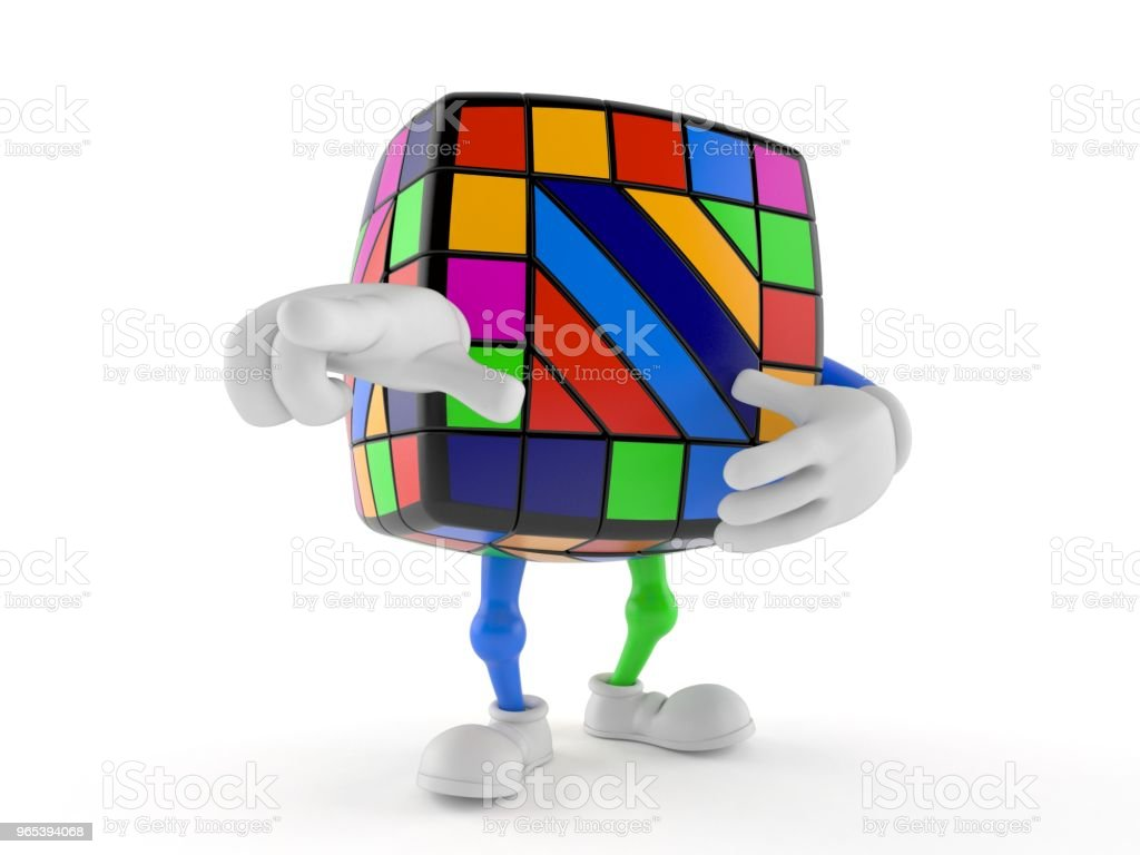 Toy puzzle character pointing finger zbiór zdjęć royalty-free