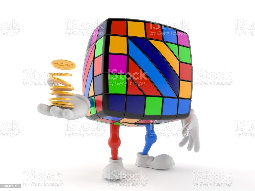 Leksak pussel karaktär med stack av mynt - Royaltyfri Avkopplingsaktivitet Bildbanksbilder