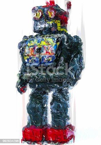 istock Toy robot illustration on white background - HD Digital illustration 992634298