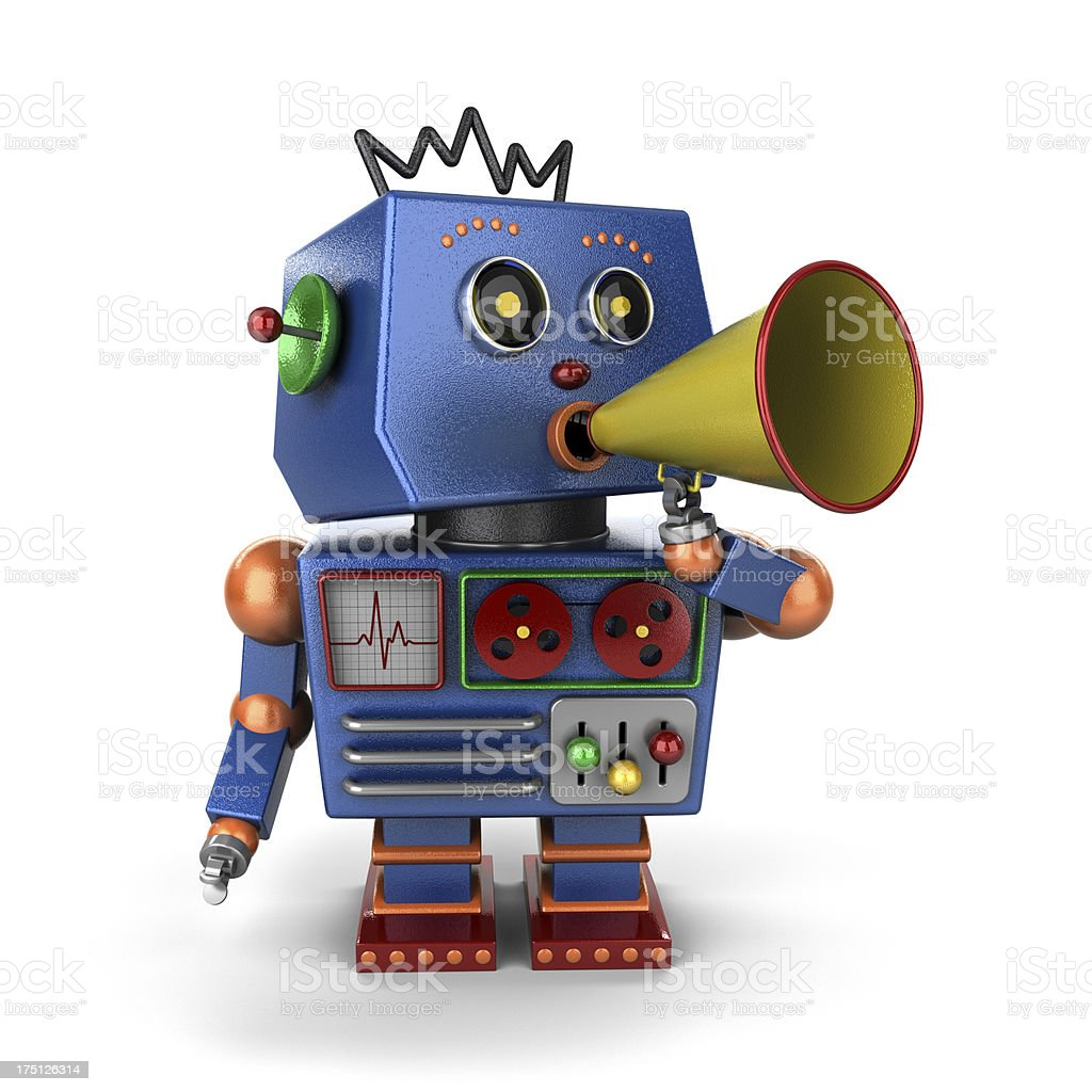 Toy robot with bullhorn royalty-free stock photo