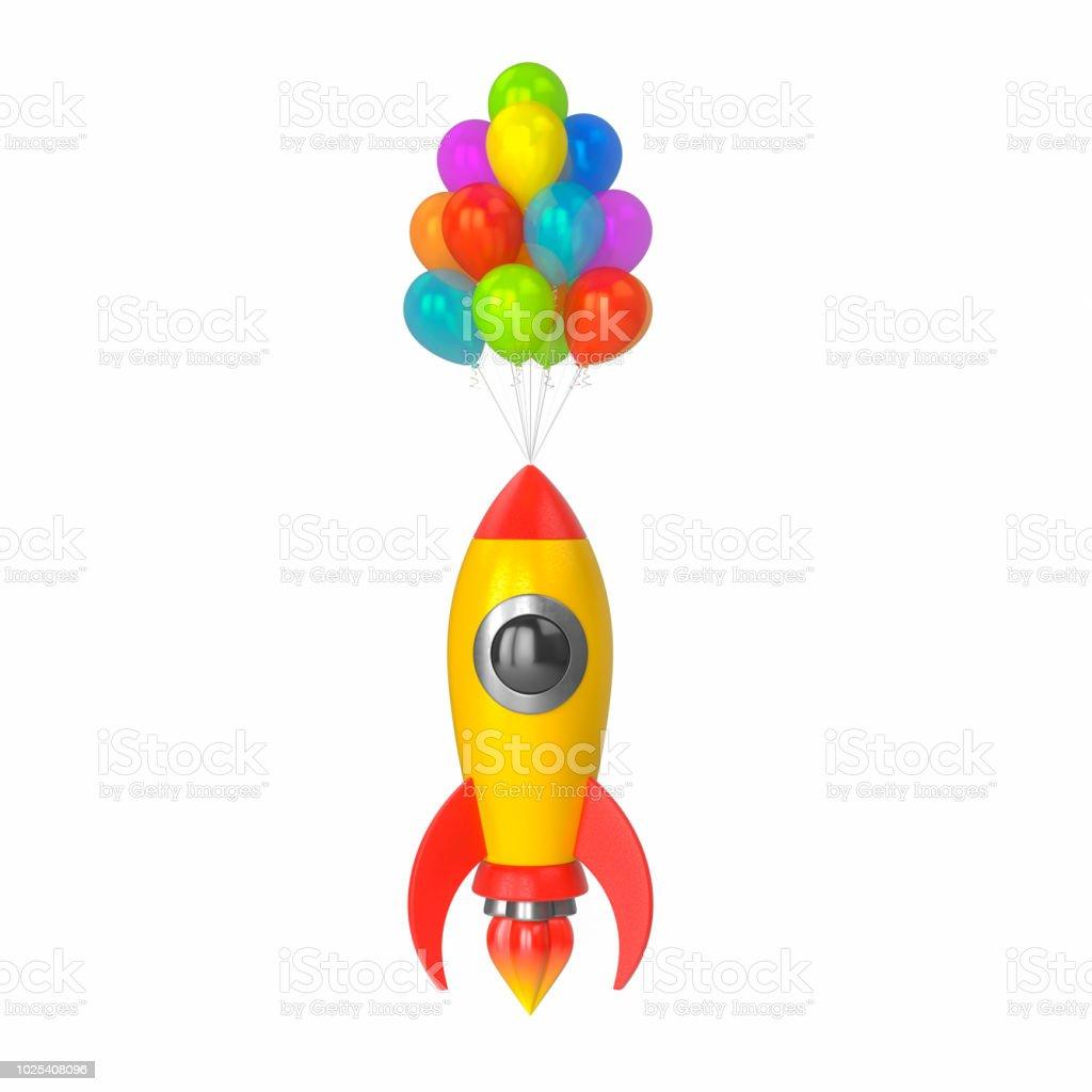 Multicolores De Blanco Globos Sobre Juguete Un Saca Fondo En Cohete NOvmn08w