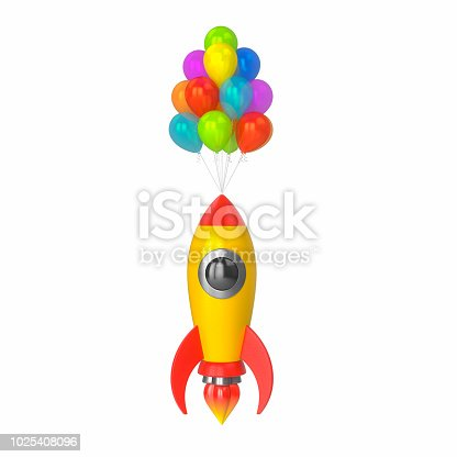 istock Toy rocket takes off on multi-colored balloons on a white isolated background. 3d render 1025408096