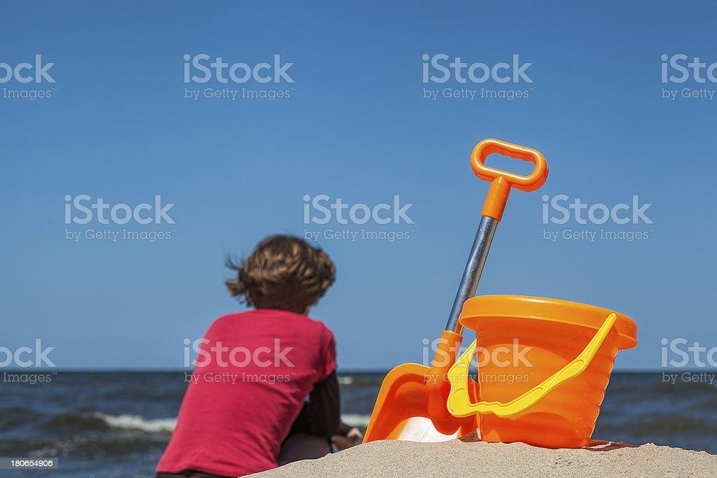 Toy set on the beach royalty-free stock photo