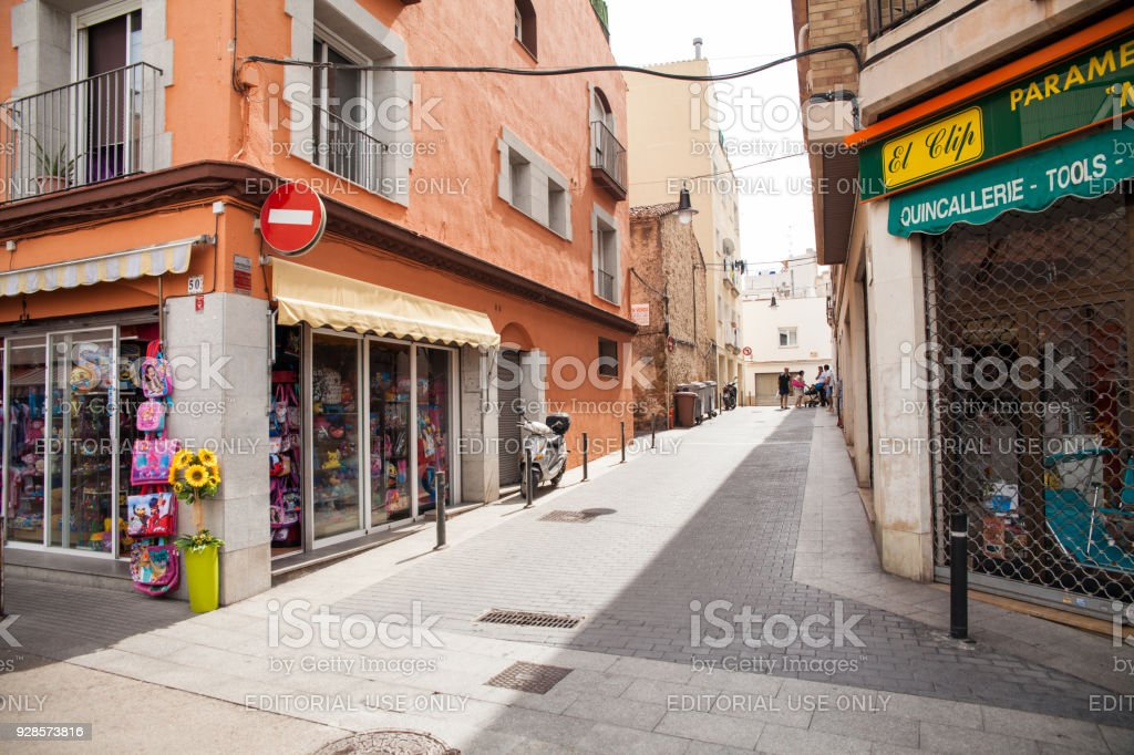 Toy shop in the narrow streets of Lloret de Mar. Downtown of Lloret, Spain. stock photo