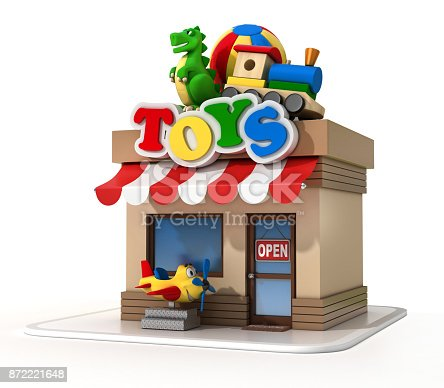 istock Toy shop mini store on a white background 3d rendering 872221648