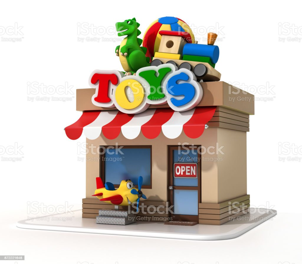 Toy shop mini store on a white background 3d rendering stock photo