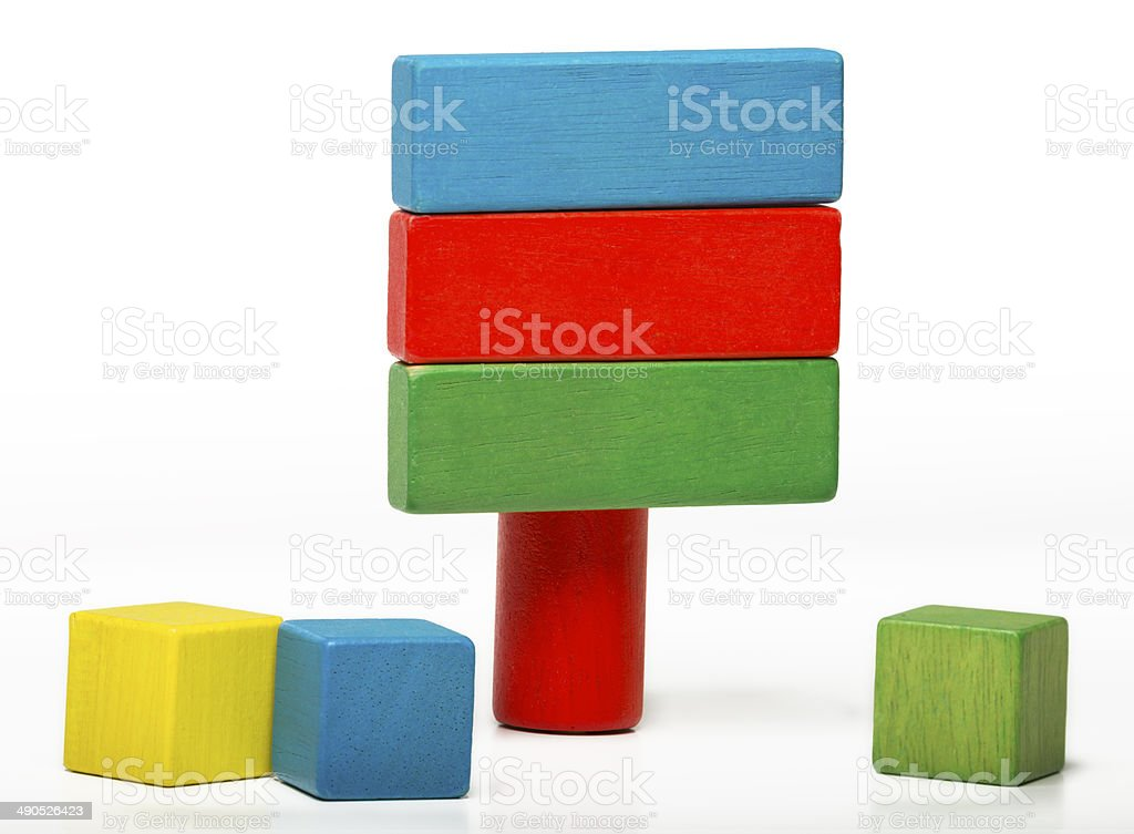 toy sign board isolated on white background, multicolor information blocks stock photo