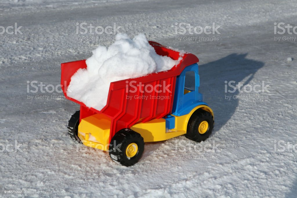 toy snow removal machine stock photo