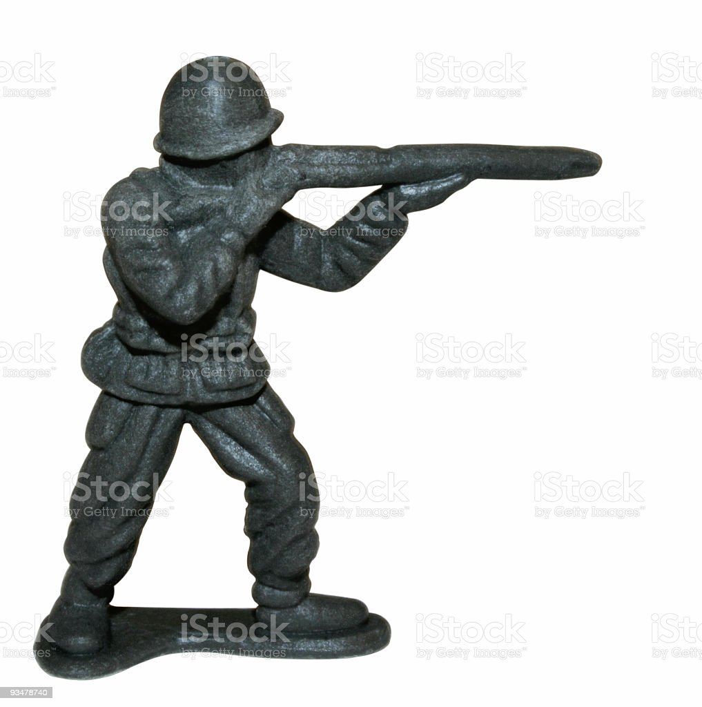 Toy Soldier Aiming Rifle royalty-free stock photo