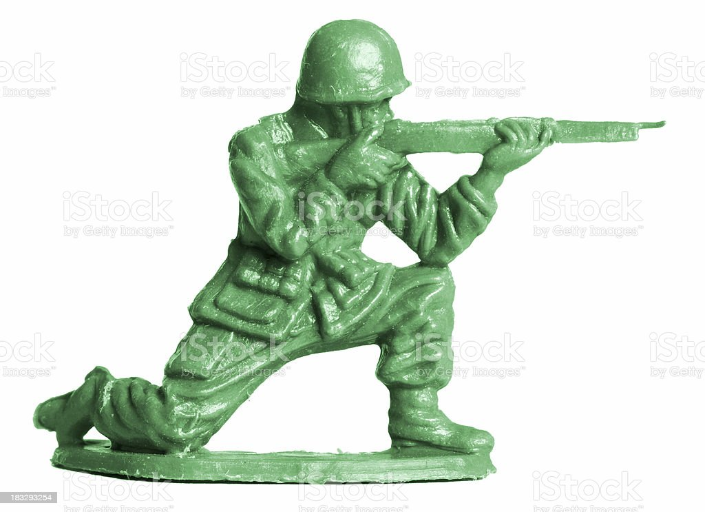 Toy soldier taking aim stock photo