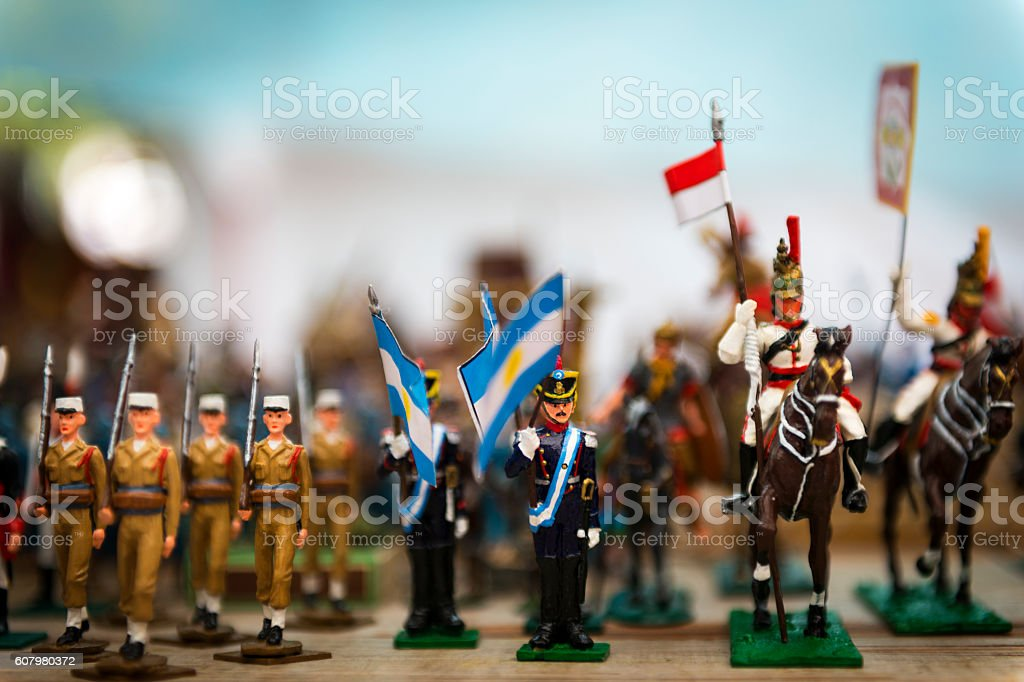 Toy soldiers in a street Market in Buenos Aires stock photo