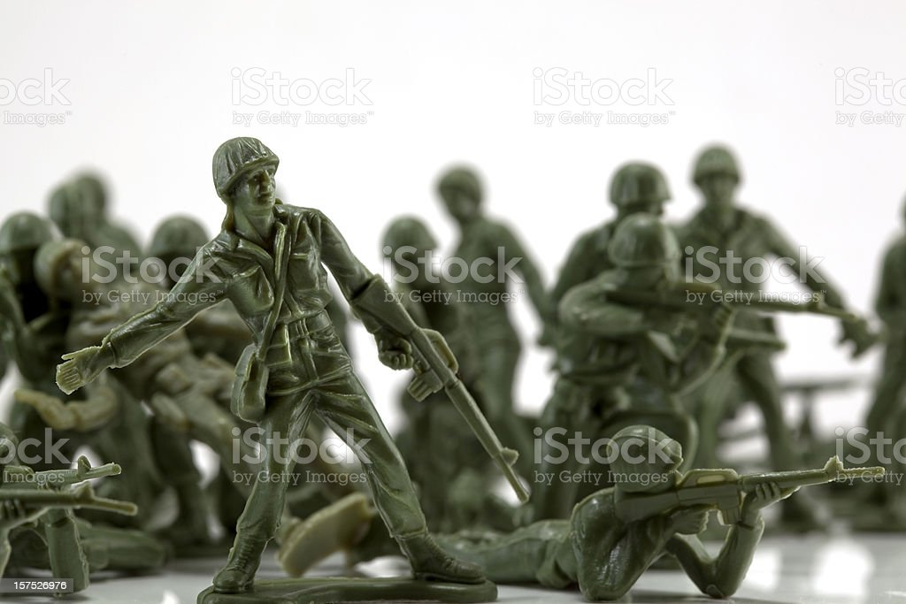 Toy soldiers in battle stock photo
