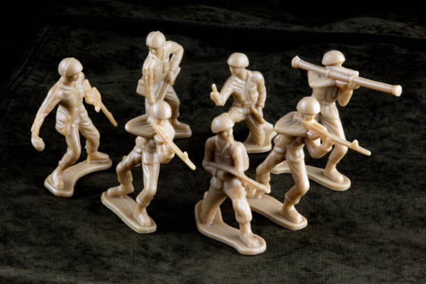 Campo de batalla de soldaditos de juguete - foto de stock