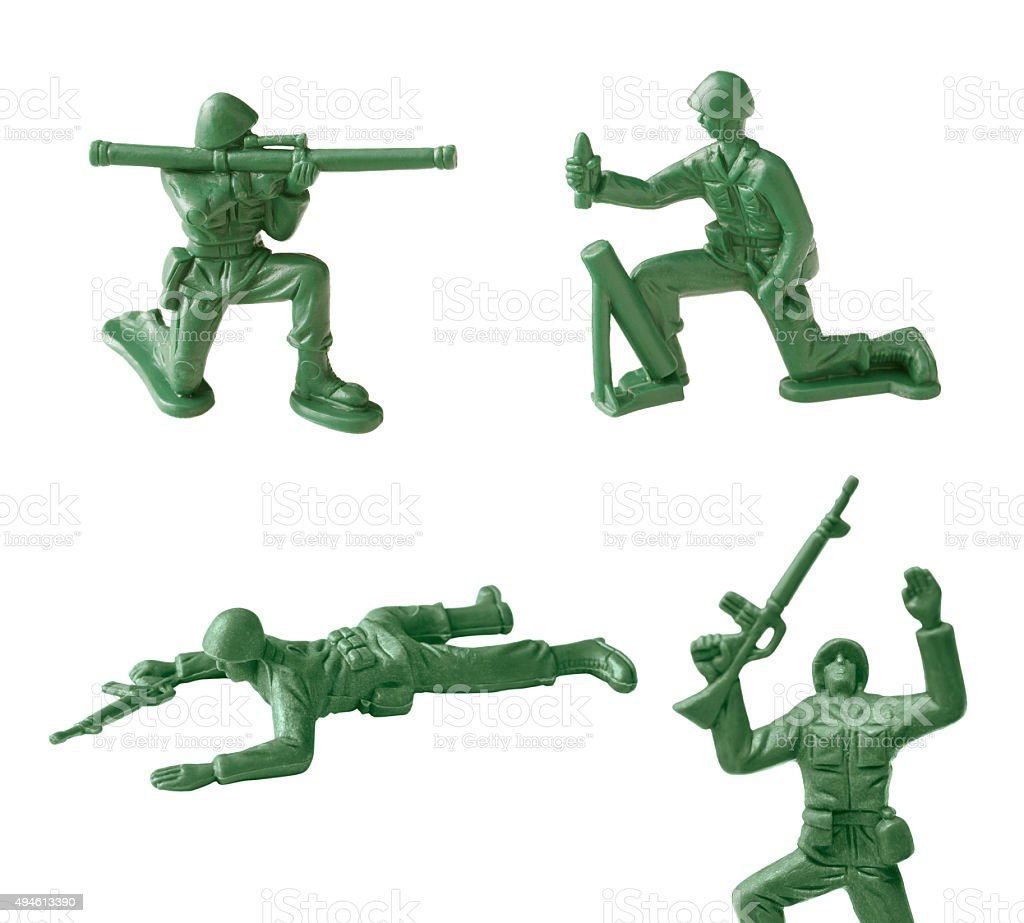 toy soldiers on white background stock photo