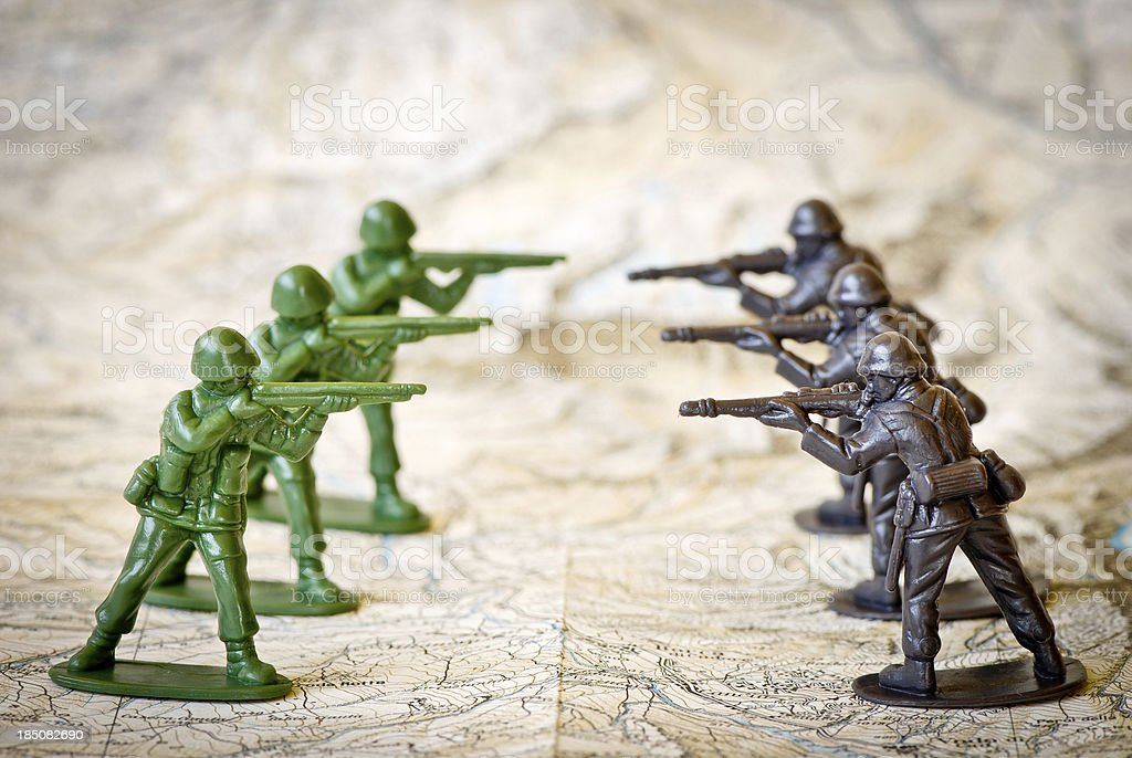 Toy soldiers war concepts stock photo