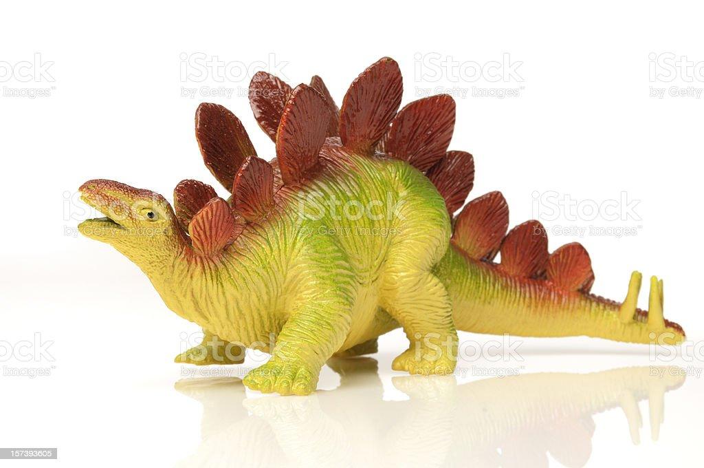 Stegosauro brinquedos de dinossauro; colorido, fundo branco, o extinto espécies - foto de acervo