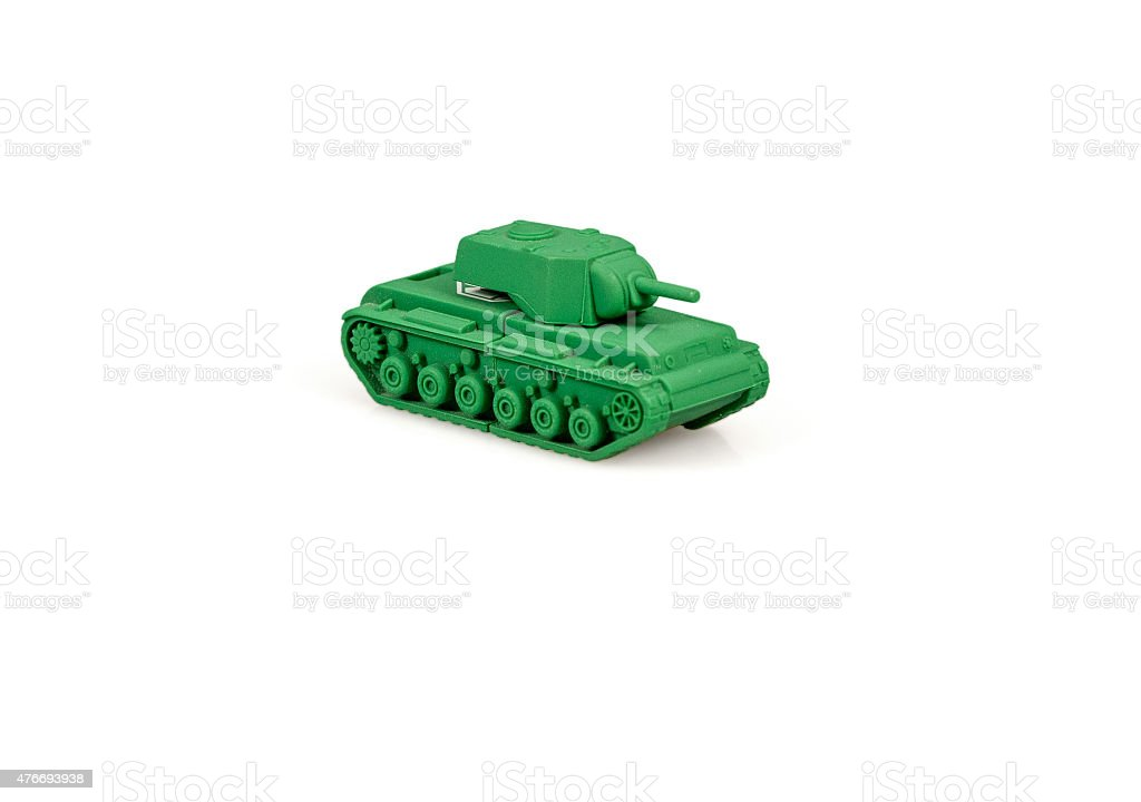 Toy tank isolated on a white background. stock photo