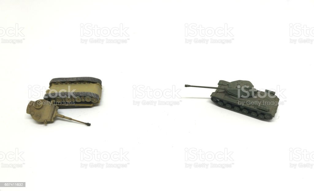 toy tanks isolated on white background stock photo