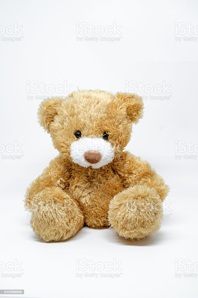 Toy teddy bear isolated on white background stock photo