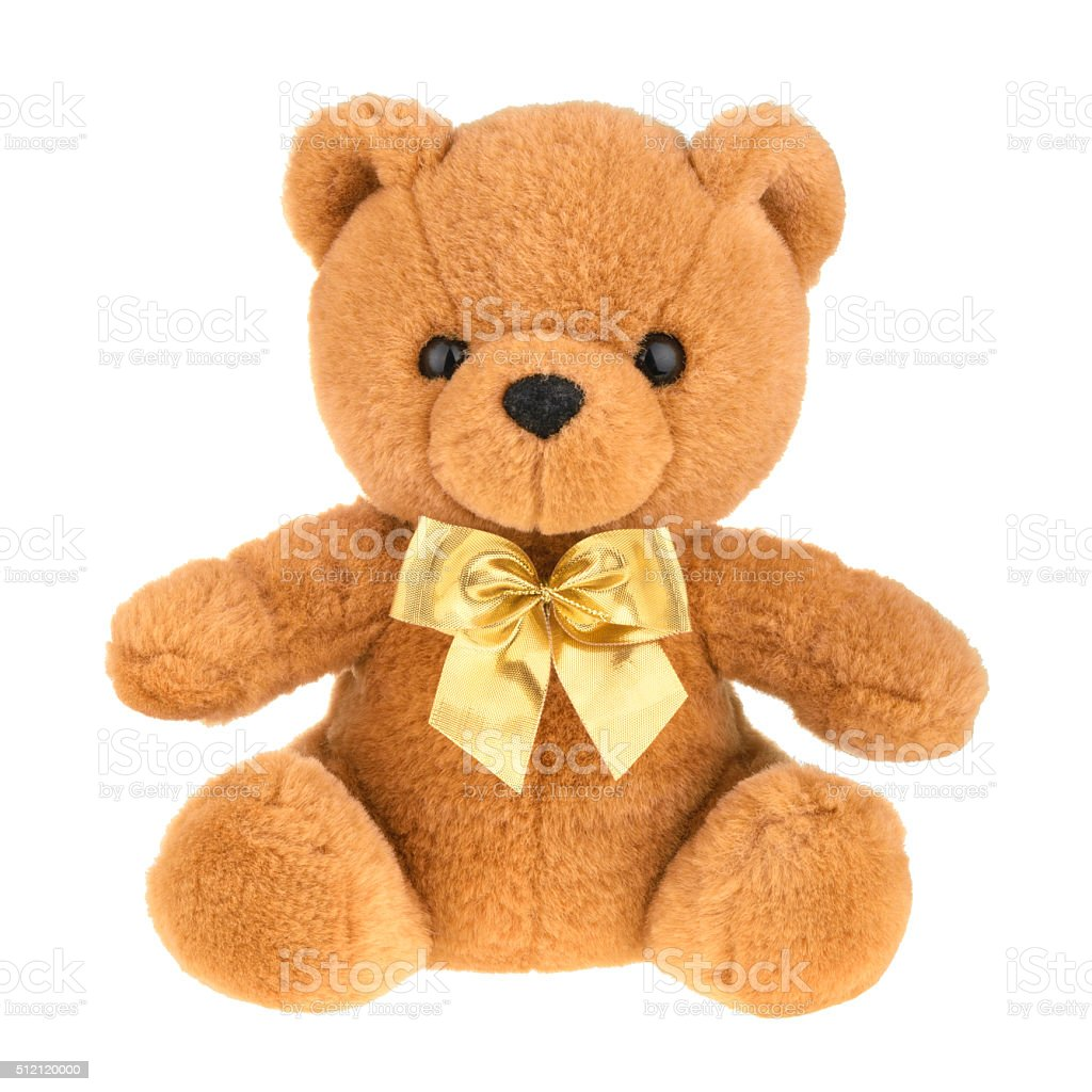 Toy teddy bear isolated on white, without shadow. stock photo