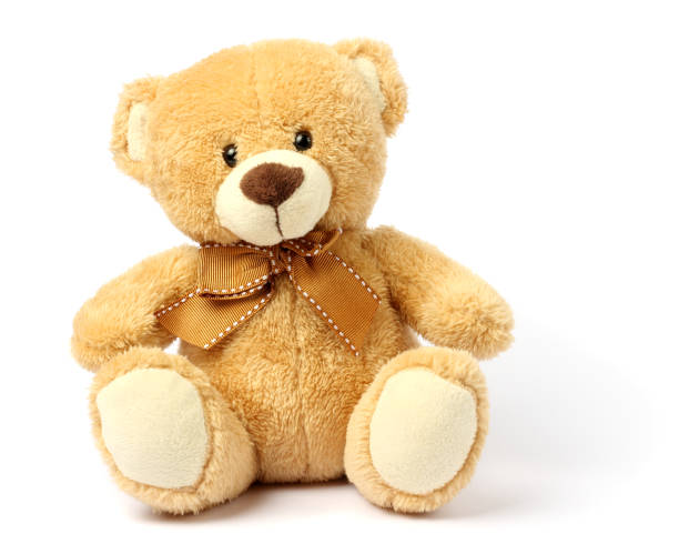 toy teddy isolated on white background - teddy bear stock photos and pictures