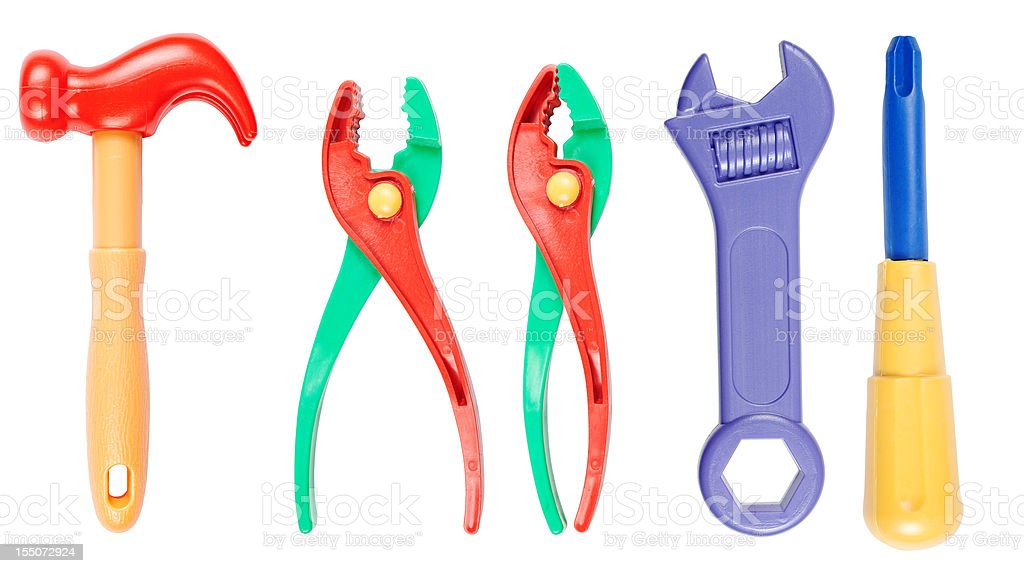Toy tool set (clipping paths) stock photo