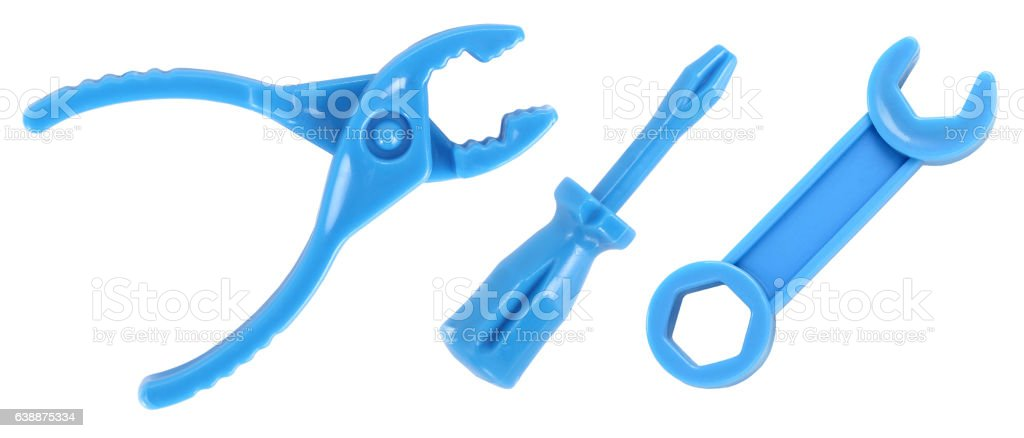 Toy tools pliers screwdriver wrench stock photo