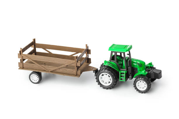 Toy tractor with trailer stock photo