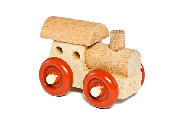 Spielzeug-Eisenbahn, isoliert auf weißem Makro – Foto