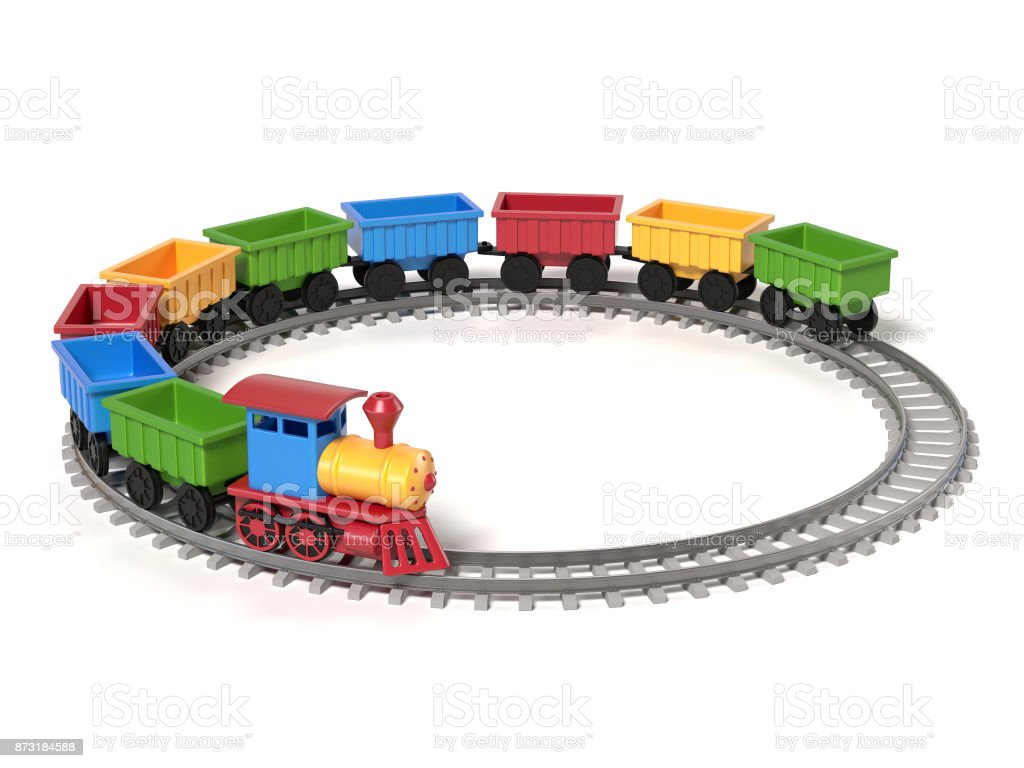 Toy train on a white background d rendering stock vector