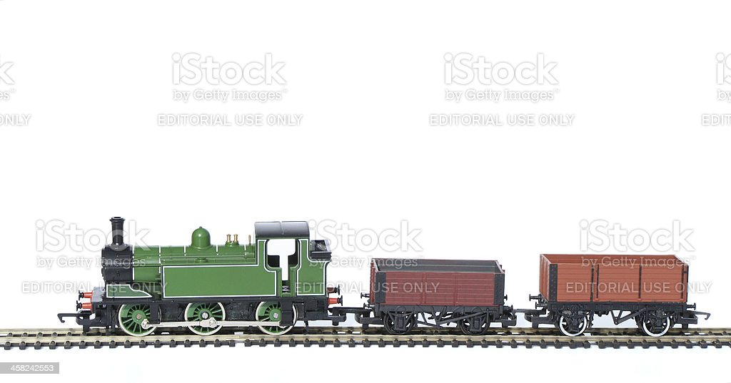 Toy Train Set, Hornby isolated with Waggons royalty-free stock photo