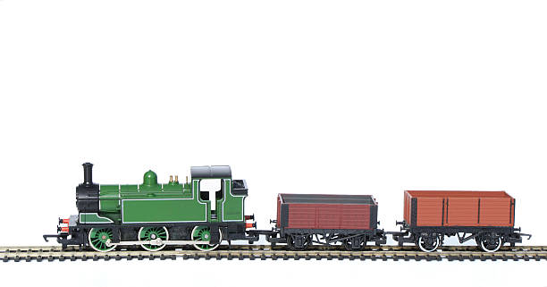 Toy Train Set, Hornby isolated with Waggons stock photo