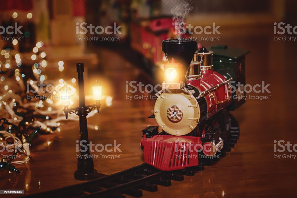 Toy Train Set with Christmas Theme stock photo