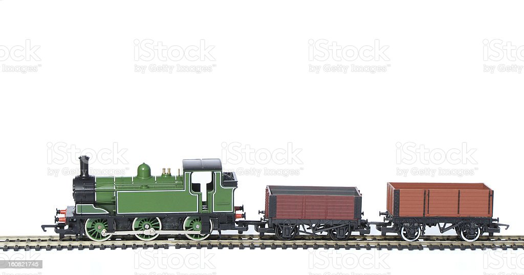 Toy Train with trucks stock photo