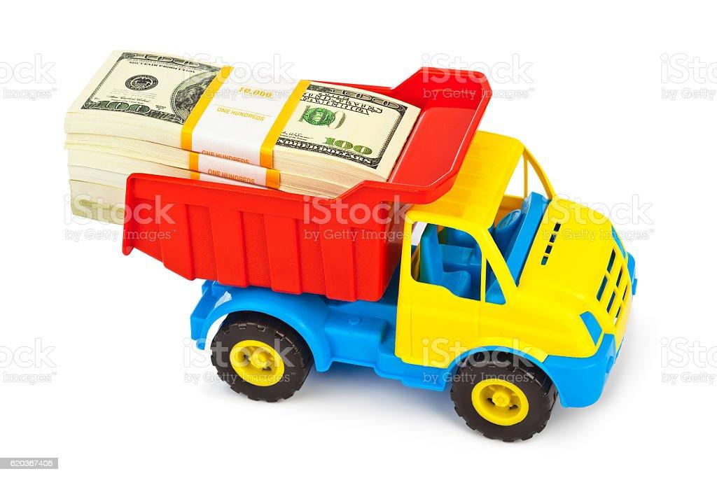 Camião de Brinquedo com dinheiro foto de stock royalty-free