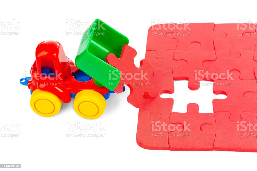 Toy truck with puzzle Lizenzfreies stock-foto