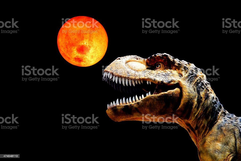 A toy Tyrannosaurus Rex looking up at the red moon stock photo