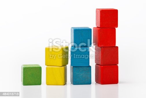 istock Toy wooden blocks increasing graph bar, infographic diagram chart 484013713
