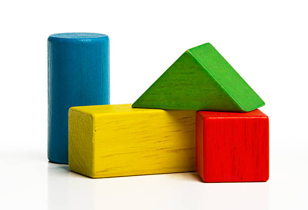 toy wooden blocks, multicolor building construction bricks stock photo