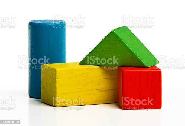 Toy Wooden Blocks Multicolor Building Construction Bricks Stockfoto en meer beelden van Abstract