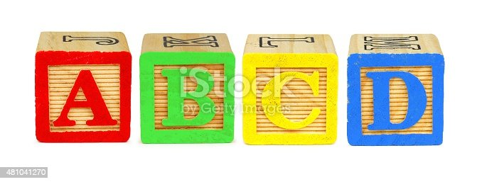 istock Toy wooden letter blocks A B C D 481041270