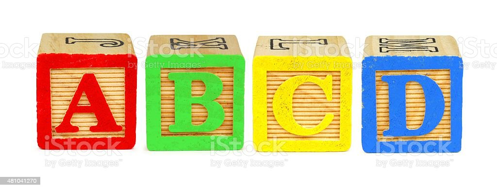 Toy wooden letter blocks A B C D stock photo