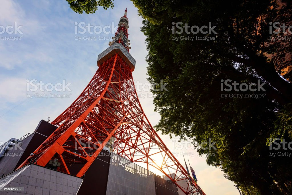 Toyko Tower during sunset stock photo