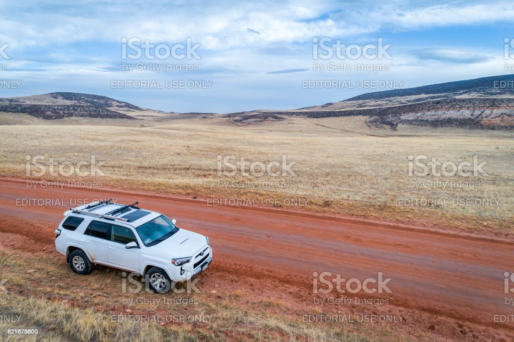 Toyota 4Runner SUV on a dirt road stock photo