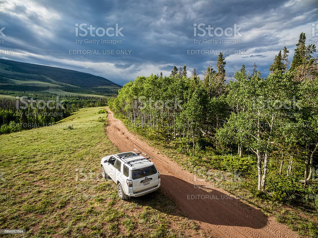 Toyota 4Runner SUV on a trail stock photo
